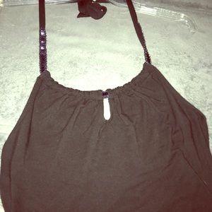 Black cotton halter top